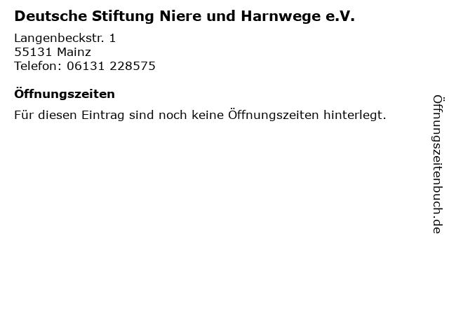Deutsche Stiftung Niere und Harnwege e.V. in Mainz: Adresse und Öffnungszeiten