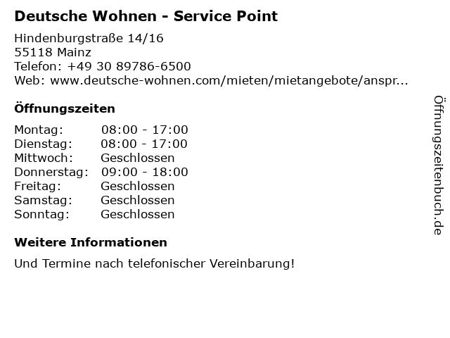 Deutsche Wohnen - Service Point in Mainz: Adresse und Öffnungszeiten
