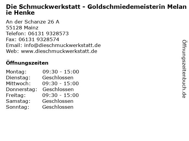 Die Schmuckwerkstatt - Goldschmiedemeisterin Melanie Henke in Mainz: Adresse und Öffnungszeiten