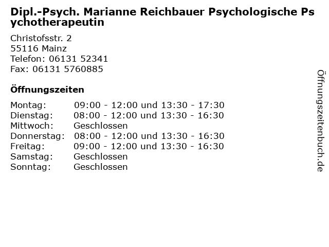Dipl.-Psych. Marianne Reichbauer Psychologische Psychotherapeutin in Mainz: Adresse und Öffnungszeiten