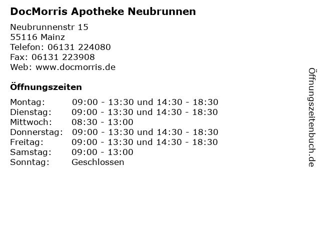 DocMorris Apotheke Neubrunnen in Mainz: Adresse und Öffnungszeiten