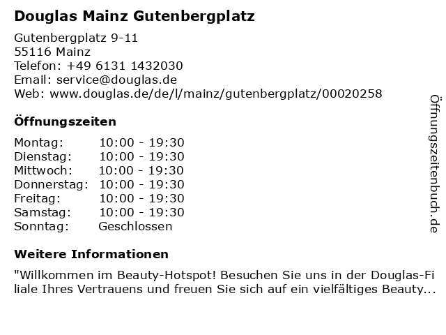 Parfümerie Douglas Mainz in Mainz: Adresse und Öffnungszeiten