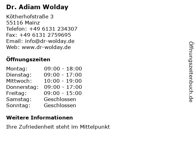 Dr. Adiam Wolday in Mainz: Adresse und Öffnungszeiten