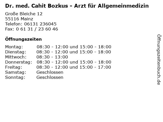 Dr. med. Cahit Bozkus - Arzt für Allgemeinmedizin in Mainz: Adresse und Öffnungszeiten