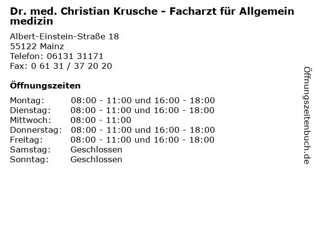 Dr. med. Christian Krusche in Mainz: Adresse und Öffnungszeiten