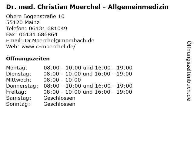 Dr. med. Christian Moerchel - Allgemeinmedizin in Mainz: Adresse und Öffnungszeiten