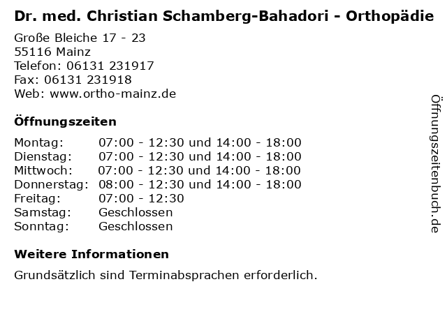 Dr. med. Christian Schamberg-Bahadori - Orthopädie in Mainz: Adresse und Öffnungszeiten