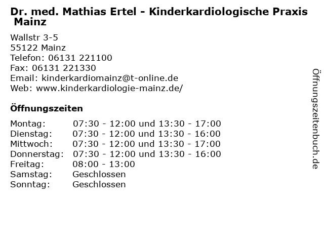 Dr. med. Mathias Ertel - Kinderkardiologische Praxis Mainz in Mainz: Adresse und Öffnungszeiten