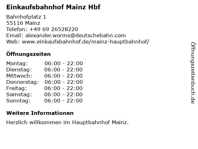 Einkaufsbahnhof Mainz Hbf in Mainz: Adresse und Öffnungszeiten