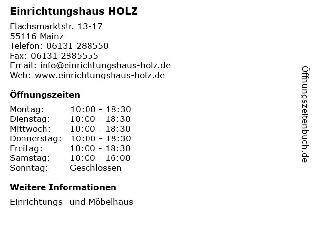 Einrichtungshaus HOLZ in Mainz: Adresse und Öffnungszeiten