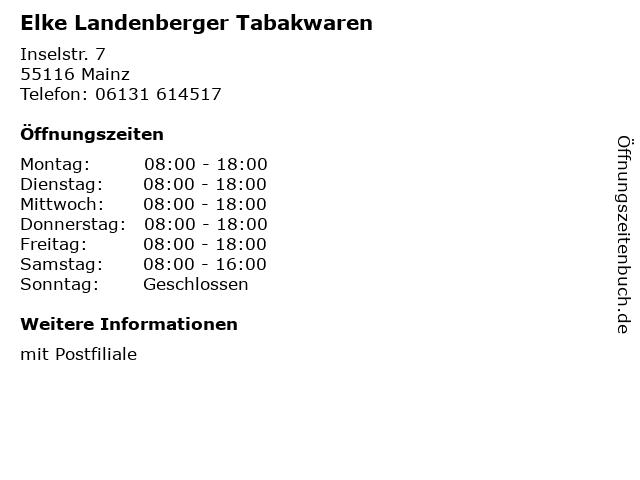 Elke Landenberger Tabakwaren in Mainz: Adresse und Öffnungszeiten