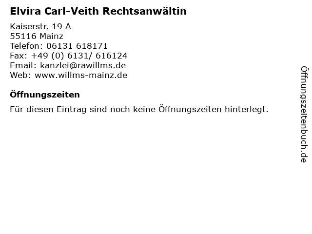 Elvira Carl-Veith Rechtsanwältin in Mainz: Adresse und Öffnungszeiten