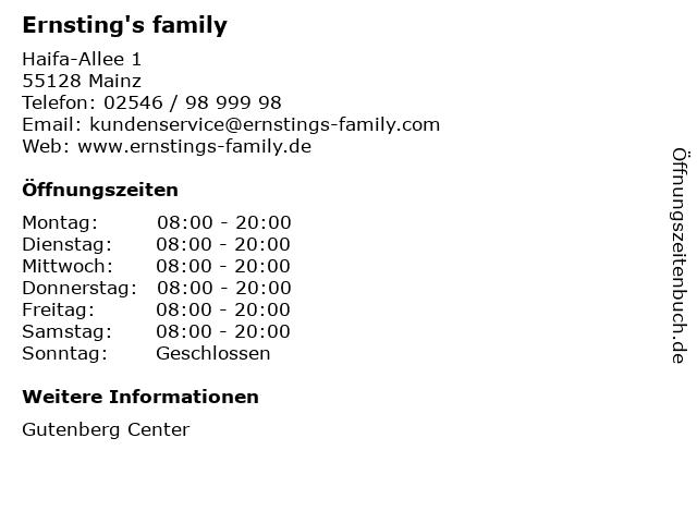 Ernsting's family in Mainz: Adresse und Öffnungszeiten