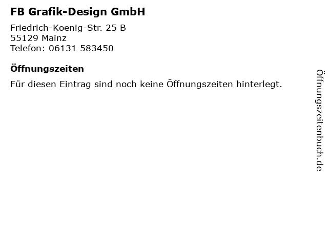 FB Grafik-Design GmbH in Mainz: Adresse und Öffnungszeiten