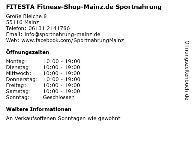 FITESTA Fitness-Shop-Mainz.de Sportnahrung in Mainz: Adresse und Öffnungszeiten