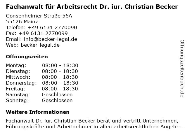 Fachanwalt für Arbeitsrecht Dr. iur. Christian Becker in Mainz: Adresse und Öffnungszeiten