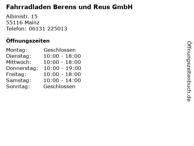 Fahrradladen Berens und Reus GmbH in Mainz: Adresse und Öffnungszeiten