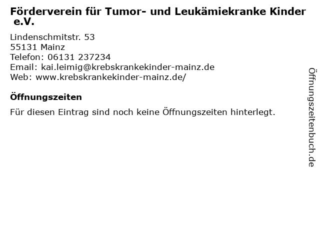 Förderverein für Tumor- und Leukämiekranke Kinder e.V. in Mainz: Adresse und Öffnungszeiten
