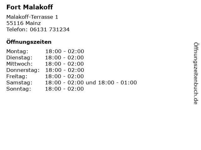 Fort Malakoff in Mainz: Adresse und Öffnungszeiten