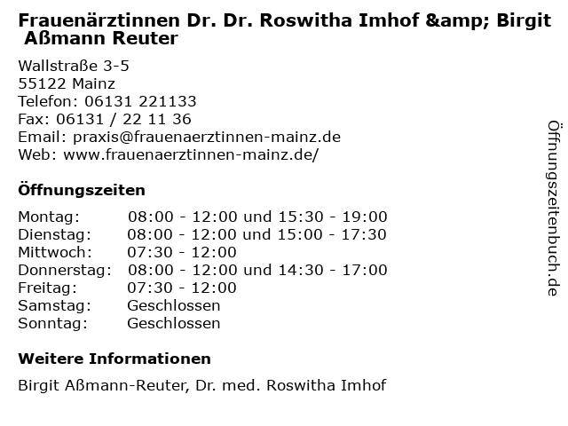 Frauenärztinnen Dr. Dr. Roswitha Imhof & Birgit Aßmann Reuter in Mainz: Adresse und Öffnungszeiten