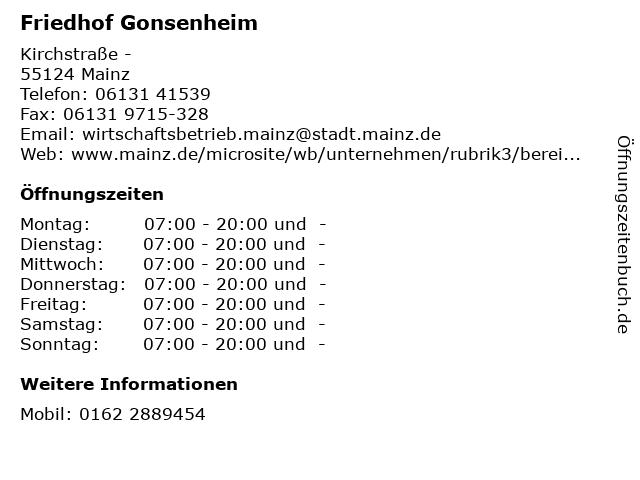 Friedhof Gonsenheim in Mainz: Adresse und Öffnungszeiten
