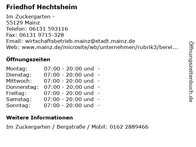 Friedhof Hechtsheim in Mainz: Adresse und Öffnungszeiten