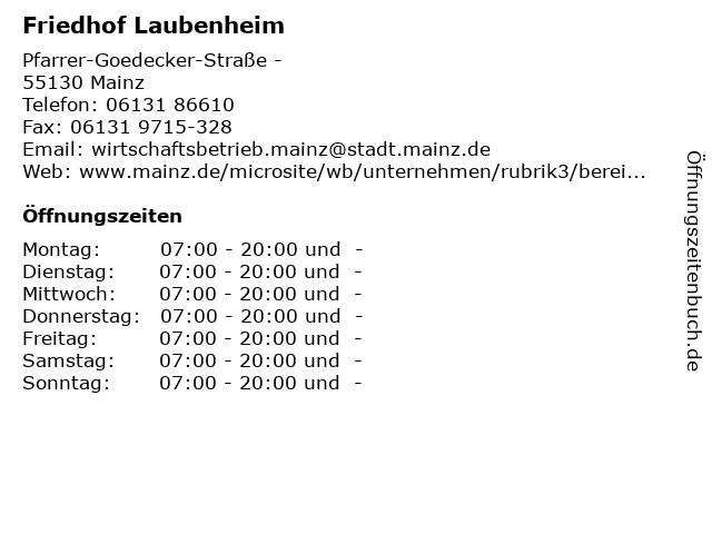 Friedhof Laubenheim in Mainz: Adresse und Öffnungszeiten