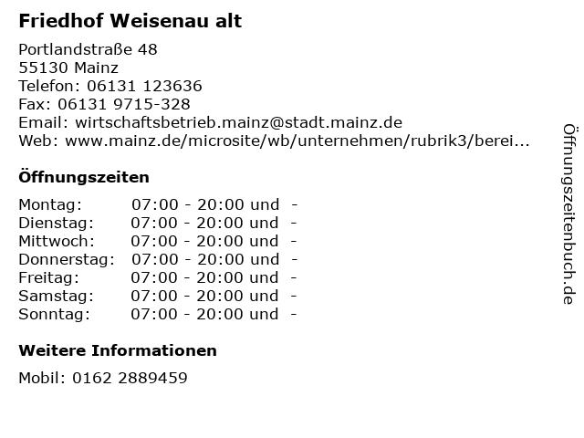 Friedhof Weisenau alt in Mainz: Adresse und Öffnungszeiten