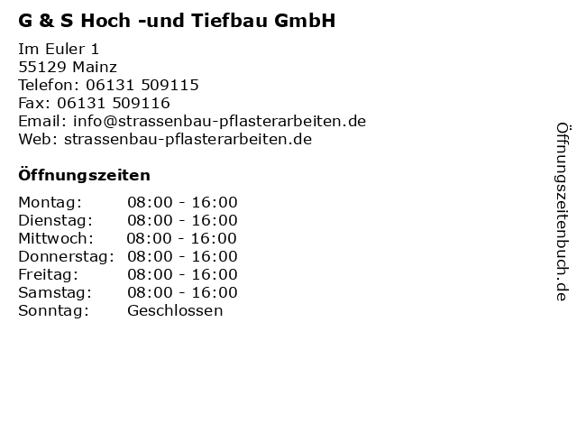 G & S Hoch -und Tiefbau GmbH in Mainz: Adresse und Öffnungszeiten