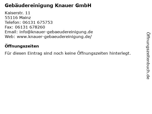 Gebäudereinigung Knauer GmbH in Mainz: Adresse und Öffnungszeiten