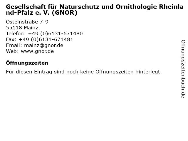 Gesellschaft für Naturschutz und Ornithologie Rheinland-Pfalz e. V. (GNOR) in Mainz: Adresse und Öffnungszeiten