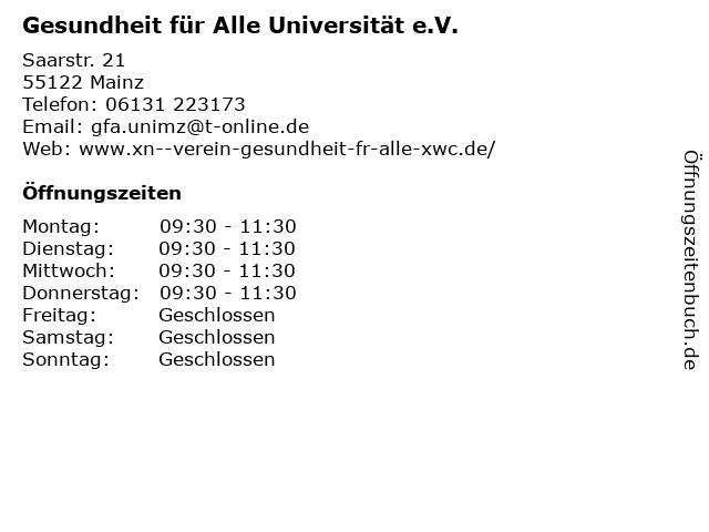 Gesundheit für Alle Universität e.V. in Mainz: Adresse und Öffnungszeiten