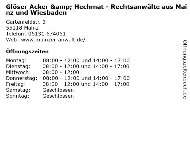 Glöser Acker & Hechmat - Rechtsanwälte aus Mainz und Wiesbaden in Mainz: Adresse und Öffnungszeiten