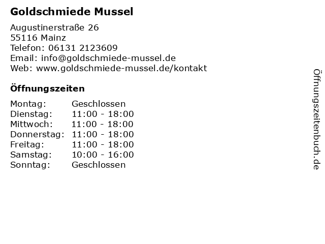 Goldschmiede Mussel in Mainz: Adresse und Öffnungszeiten