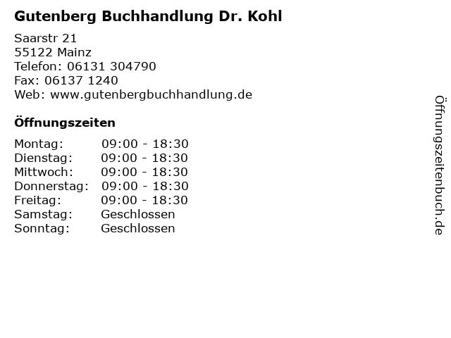 Gutenberg Buchhandlung Dr. Kohl in Mainz: Adresse und Öffnungszeiten