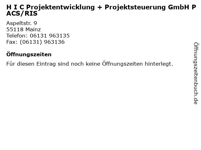 H I C Projektentwicklung + Projektsteuerung GmbH PACS/RIS in Mainz: Adresse und Öffnungszeiten