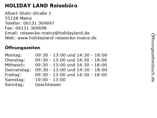 HOLIDAY LAND Reisebüro in Mainz: Adresse und Öffnungszeiten