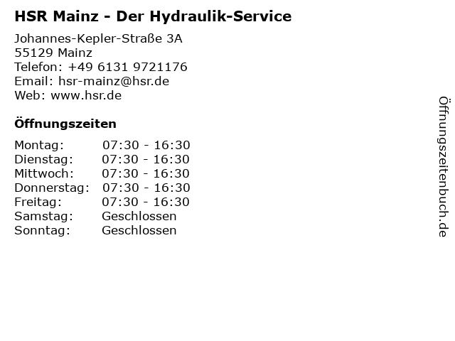 HSR Der Hydraulik-Service in Mainz: Adresse und Öffnungszeiten