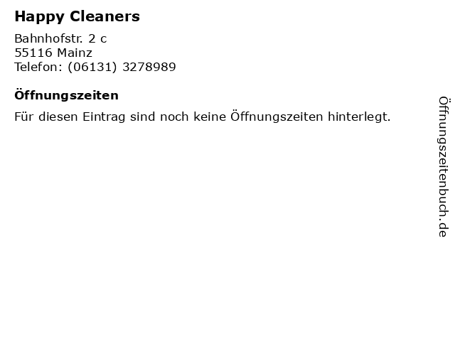 Happy Cleaners in Mainz: Adresse und Öffnungszeiten