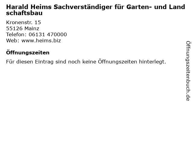 Harald Heims Sachverständiger für Garten- und Landschaftsbau in Mainz: Adresse und Öffnungszeiten