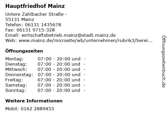 Hauptfriedhof Mainz in Mainz: Adresse und Öffnungszeiten
