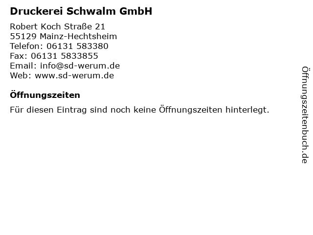 Druckerei Schwalm GmbH in Mainz-Hechtsheim: Adresse und Öffnungszeiten