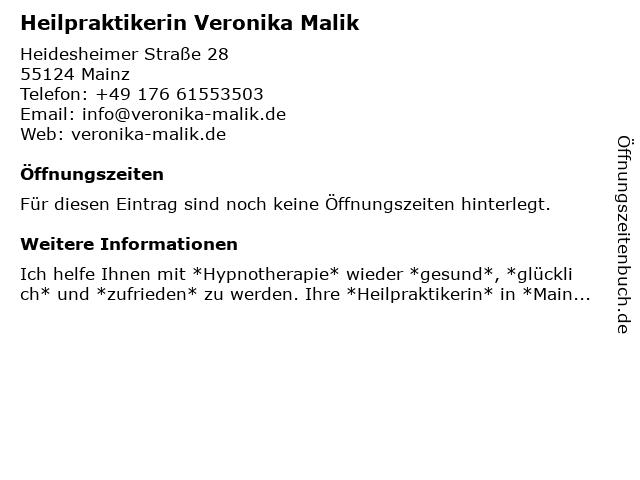 Heilpraktikerin Veronika Malik in Mainz: Adresse und Öffnungszeiten