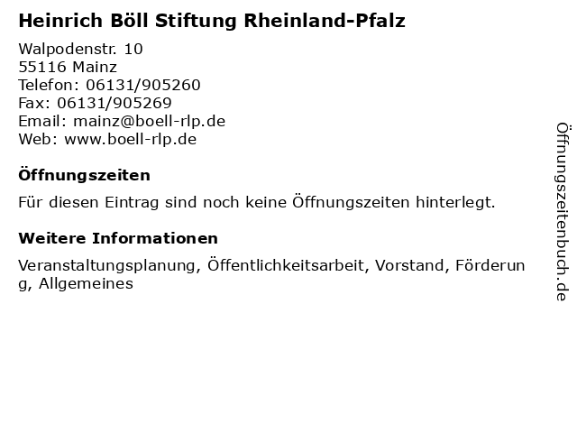 Heinrich Böll Stiftung Rheinland-Pfalz in Mainz: Adresse und Öffnungszeiten