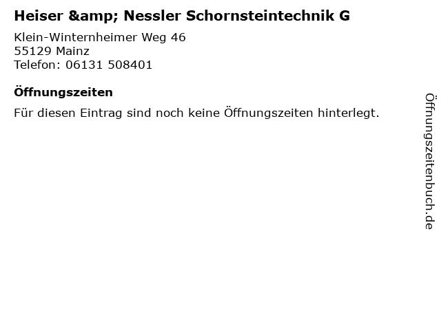 Heiser & Nessler Schornsteintechnik G in Mainz: Adresse und Öffnungszeiten