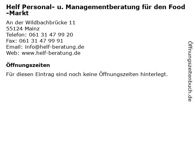 Helf Personal- u. Managementberatung für den Food-Markt in Mainz: Adresse und Öffnungszeiten