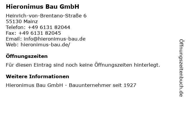 Hieronimus Bauunternehmung und Sanierungsbau GmbH in Mainz: Adresse und Öffnungszeiten