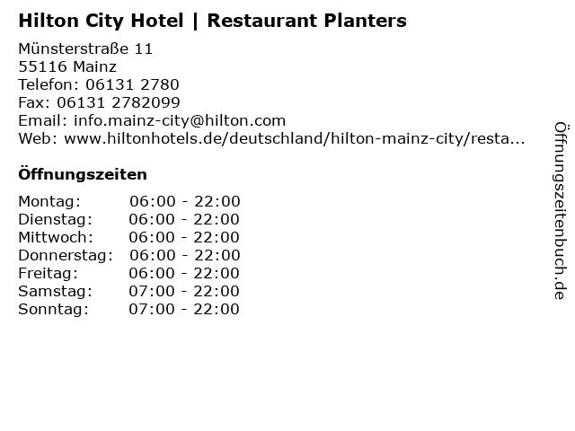 Hilton City Hotel   Restaurant Planters in Mainz: Adresse und Öffnungszeiten