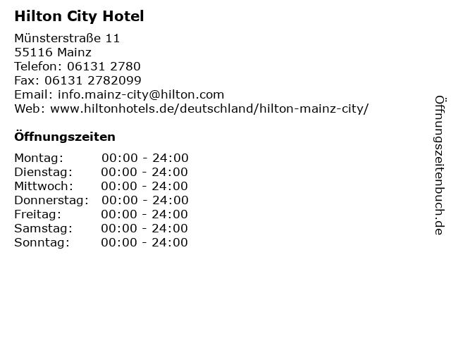 Hilton City Hotel in Mainz: Adresse und Öffnungszeiten