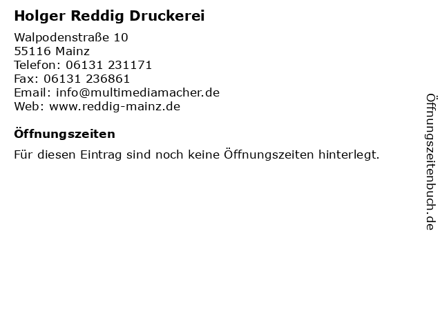 Holger Reddig Druckerei in Mainz: Adresse und Öffnungszeiten